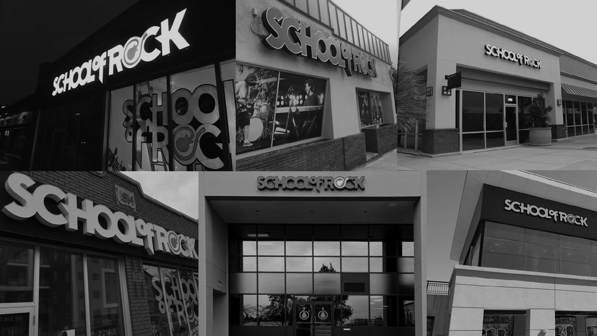 a montage of School of Rock storefronts